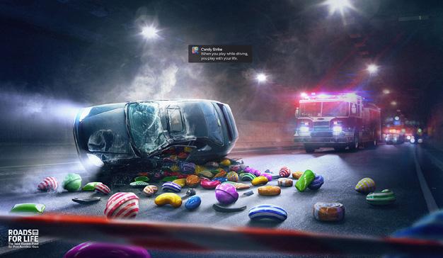 Una peculiar campaña para que los conductores no jueguen con el móvil al volante
