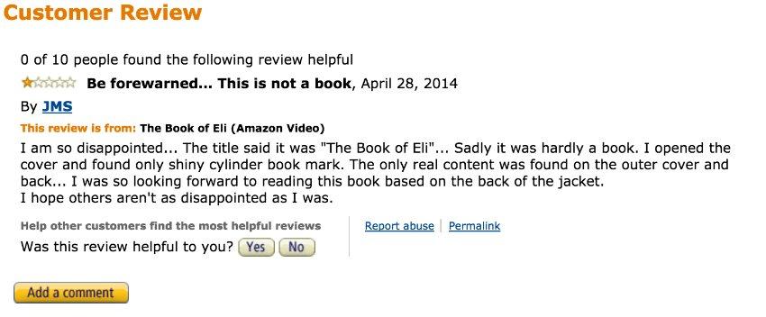 Screenshot Fiese Ein-Stern-Bewertungen bei Amazon und Co./ 01_Eli_Amazon
