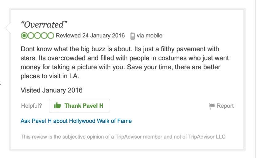 Screenshot Fiese Ein-Stern-Bewertungen bei Amazon und Co./ 10_Hollywood_Tripadvisor