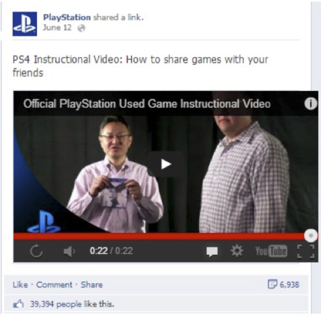 playstation video Facebook