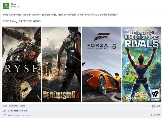 xbox videojuegos publicaciones Facebook