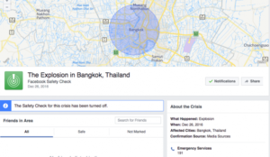 Unos petardos crean una falsa alarma en Bangkok haciendo que Facebook active su