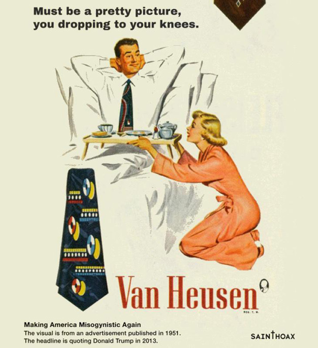 Las frases más machistas de Trump convertidas en eslóganes de anuncios de los años 50