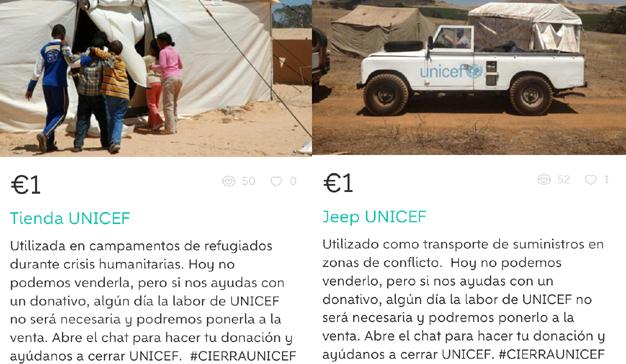 #CierraUNICEF: la organización pone a la venta su equipamiento en Wallapop