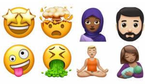 Una cara vomitando y una mujer amamantando a un bebé, entre los nuevos emojis de Apple