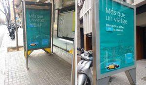 Los taxistas boicotean las marquesinas de Uber en Barcelona