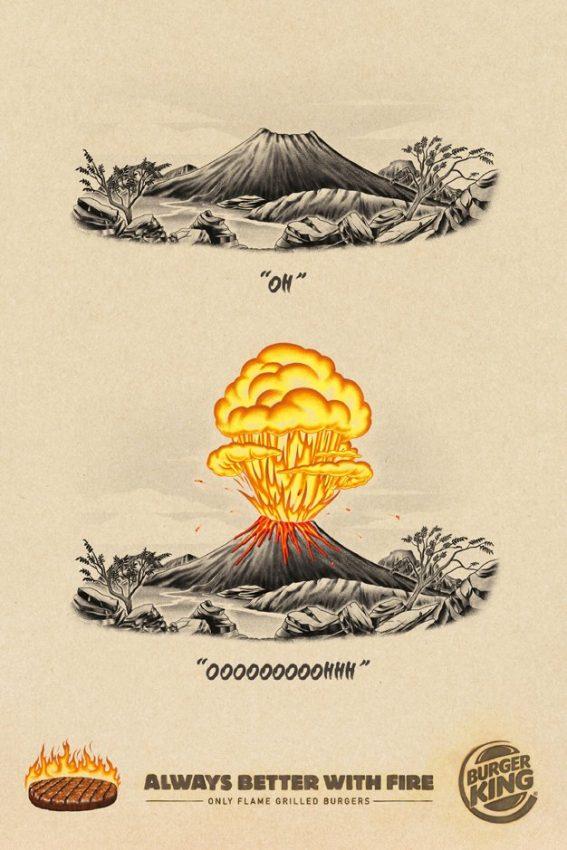 Burger King muestra con estas épicas ilustraciones que todo es mejor si está en llamas