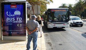 Las primeras marquesinas digitales de Málaga