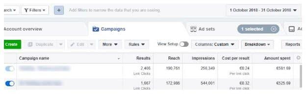 Resultados Facebook Campaign Planner