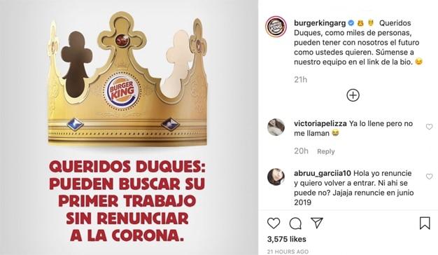 Burger King cede a Harry y a Meghan su corona tras su cacareado