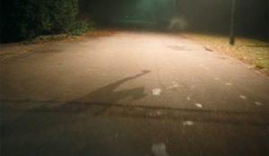 Una mujer y un perro incorpóreos se zafan de la invisibilidad bajo los faros de Volkswagen