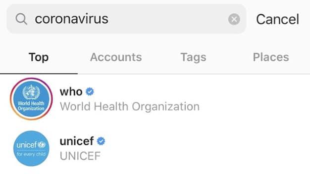 Coronavirus Instagram