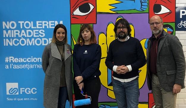 Ferrocarrils de la Generalitat de Catalunya exhibe tres murales contra el acoso machista