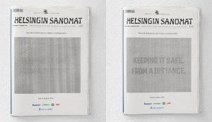 Si no puede leer el ingenioso anuncio de este diario finés, es que no respeta la distancia social