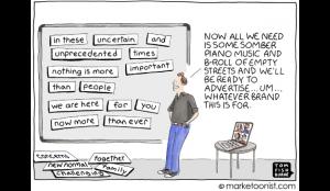 La preocupante similitud de los anuncios del COVID-19, reflejada en viñetas
