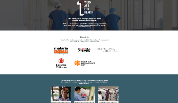Imagen del site 'Work as 1 for Health de la Fundacioìn Gates