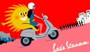 Vespa festeja la vuelta a la carretera con estos coloridos anuncios de primoroso sabor retro