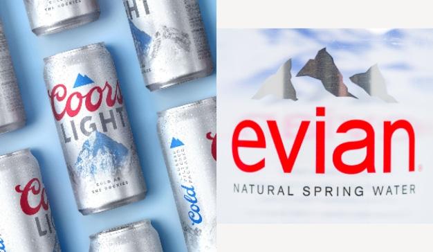 Evian reacciona a la nueva identidad visual de Coors Light (que es un calco de la suya propia)