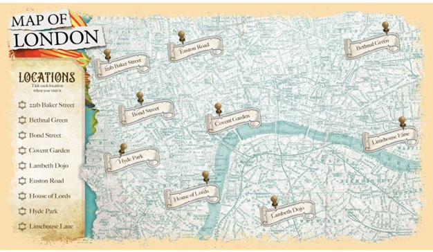 Mapa de Londres del escape room de Enola Holmes