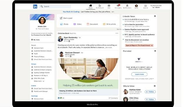 Nueva interfaz de LinkedIn que llegará en noviembre