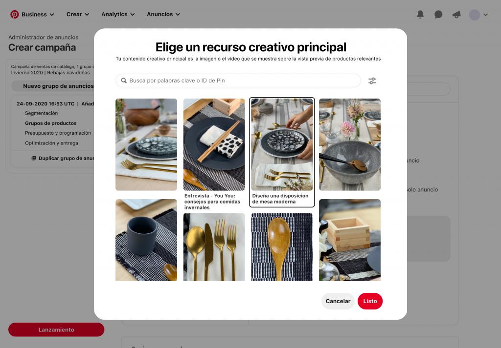 Actualizaciones del catálogo de Pinterest