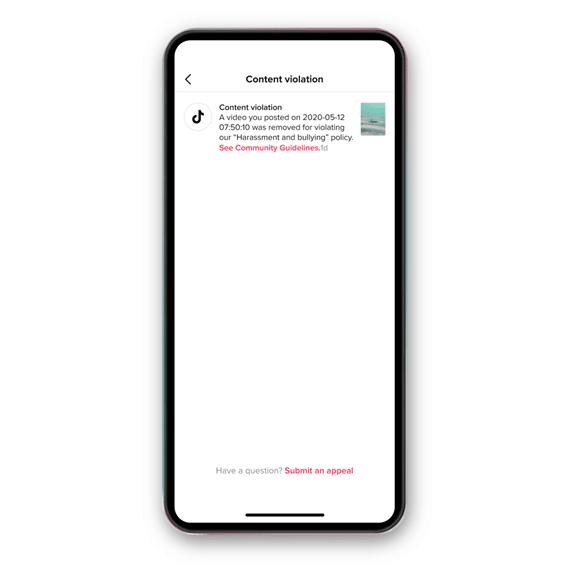 TikTok notificacion eliminación de contenido