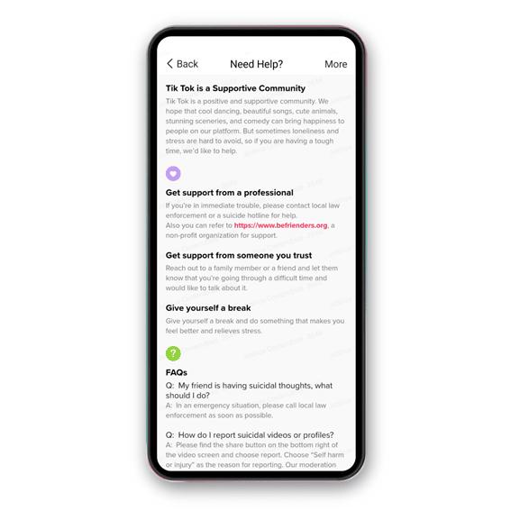 TikTok notificación contenido autolesivo