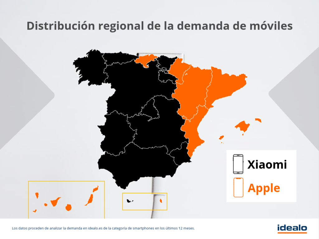 Xiaomi vs Apple por regiones en España