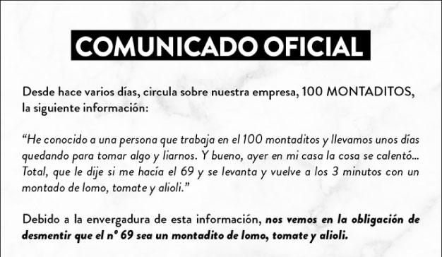 Comunicado oficial de 100 Montaditos en Twitter
