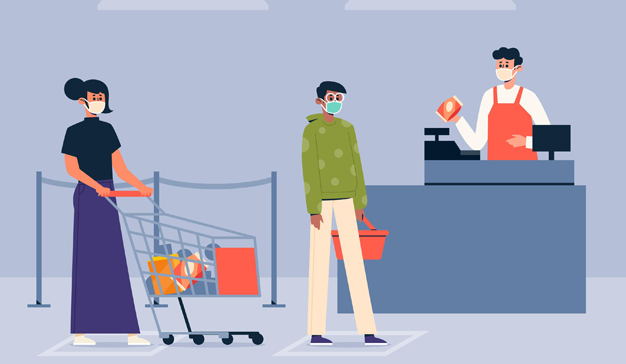 Compradores en supermercado covid consumo
