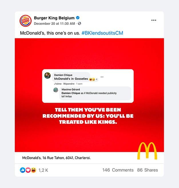 Burger King recomienda McDonald's