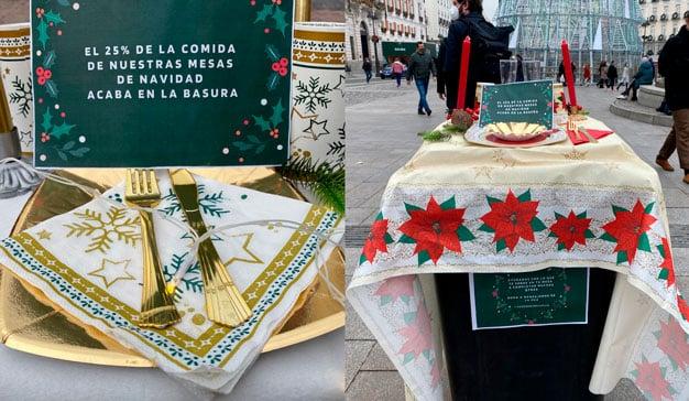 Estos cubos de basura se visten de mesas de Navidad para concienciar y fomentar las donaciones de comida