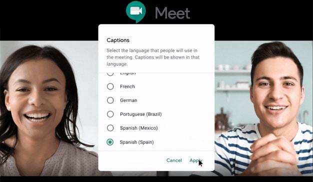 Google Meet incorpora subtítulos en varios idiomas en tiempo real