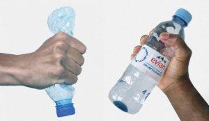 Evian presenta una botella 100% reciclada con un diseño