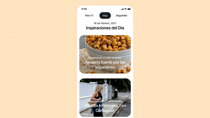 Pinterest lanza la pestaña Hoy en España