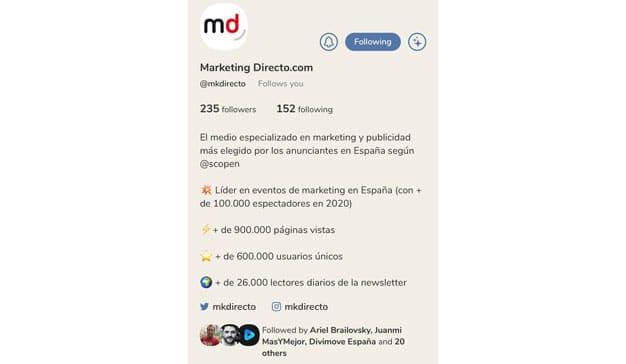 cuenta MarketingDirecto.com Clubhouse