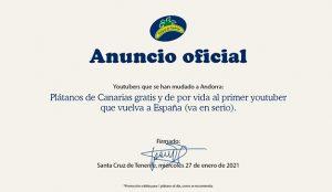 Plátano de Canarias propone en Twitter una solución para que los youtubers españoles no se vayan a Andorra