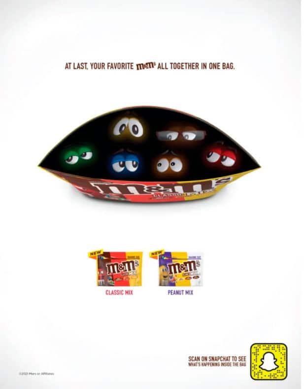anuncio realidad aumentada M&M's