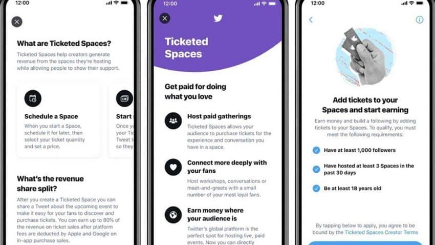 Ticketed Spaces, la versión de pago de las salas de audio de Twitter Spaces