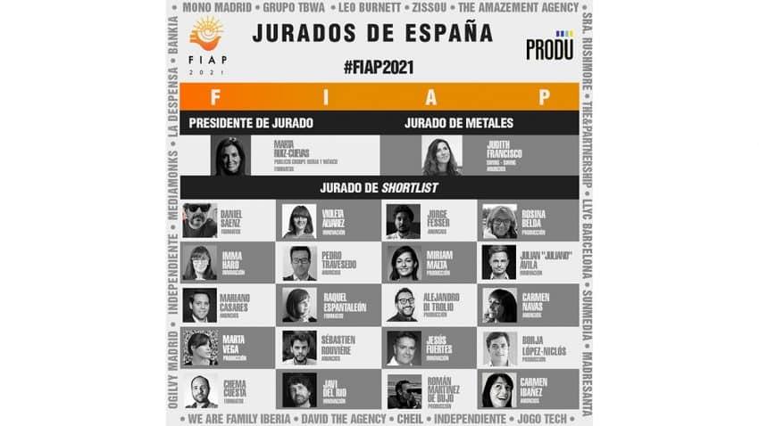 20 representantes de la industria publicitaria de España confirmados como jurados de Shortlist del FIAP 2021