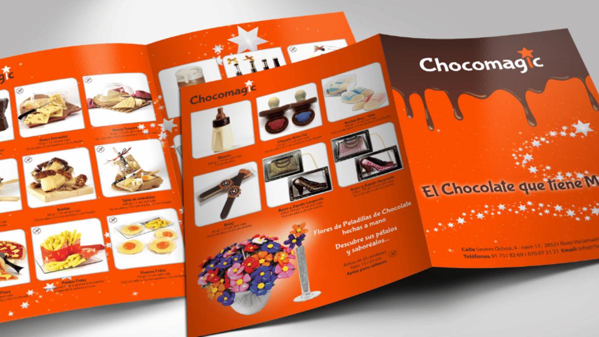 folleto publicitario chocomagic