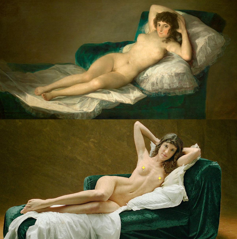 La Maja desnuda de Goya recreada por Pornhub