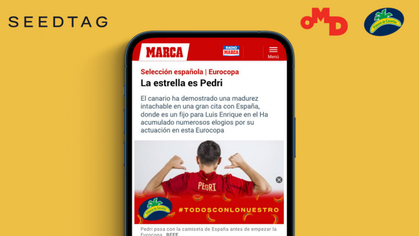 Plátano de Canarias impulsa su asociación con el jugador Pedri mediante la publicidad contextual de Seedtag, una activación de OMD España