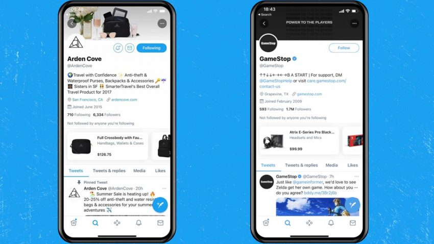 Twitter comienza a probar el módulo de tiendas que llegará a la red social