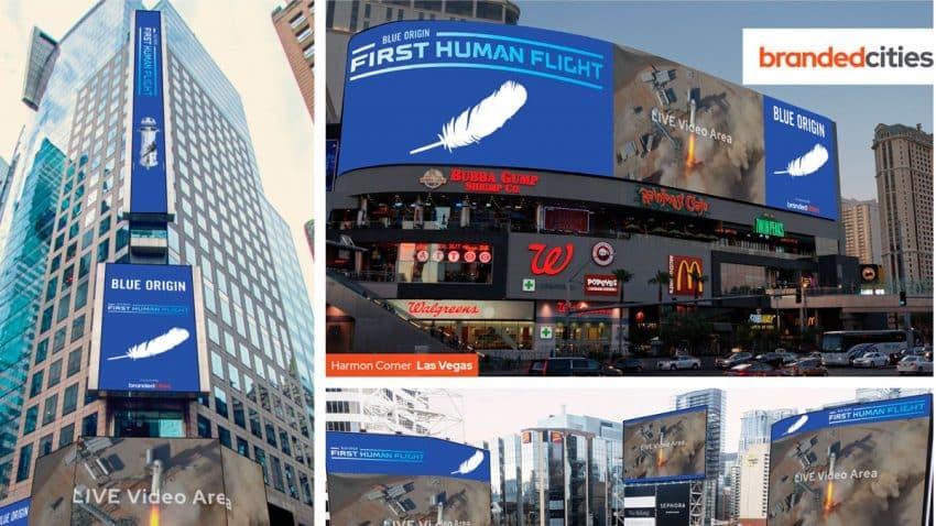 El vuelo espacial de Jeff Bezos se podrá ver en vallas publicitarias de Estados Unidos