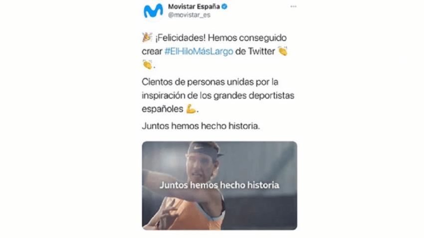Movistar bate el récord mundial del hilo más largo de Twitter