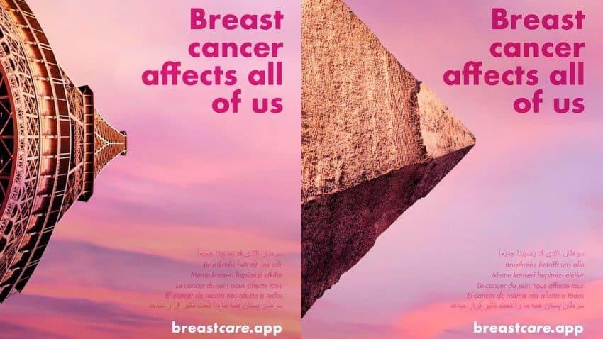 Esta acción convierte icónicos monumentos en pechos para concienciar sobre el cáncer de mama