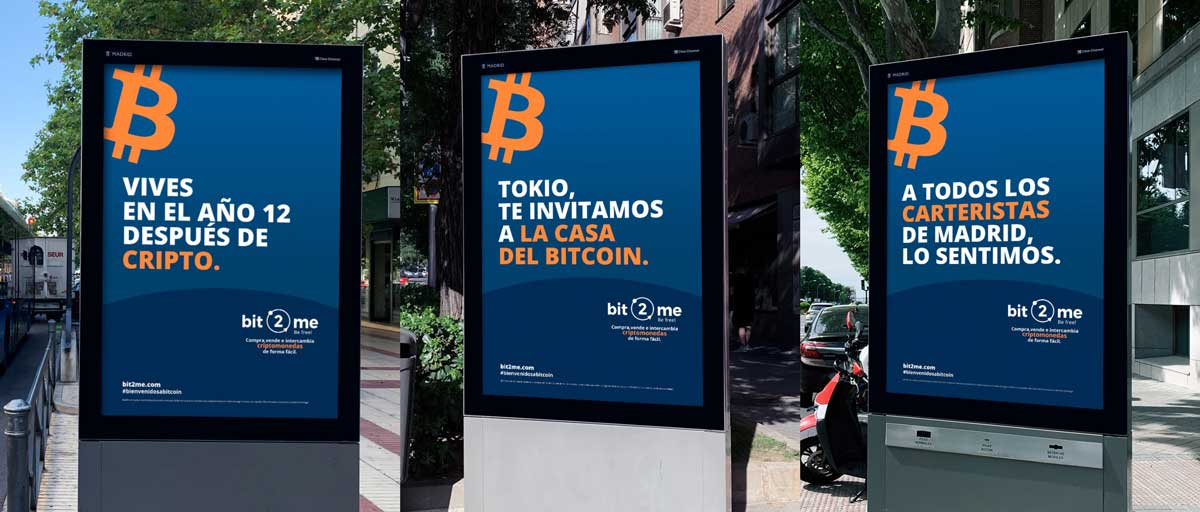 Mupis de la campaña de Bit2Me en Madrid