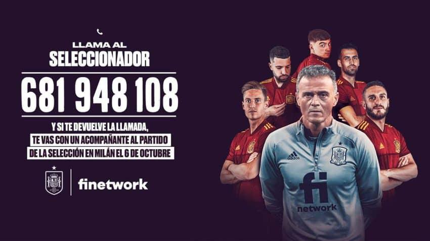 Luis Enrique comparte su número de teléfono por esta campaña de Finetwork