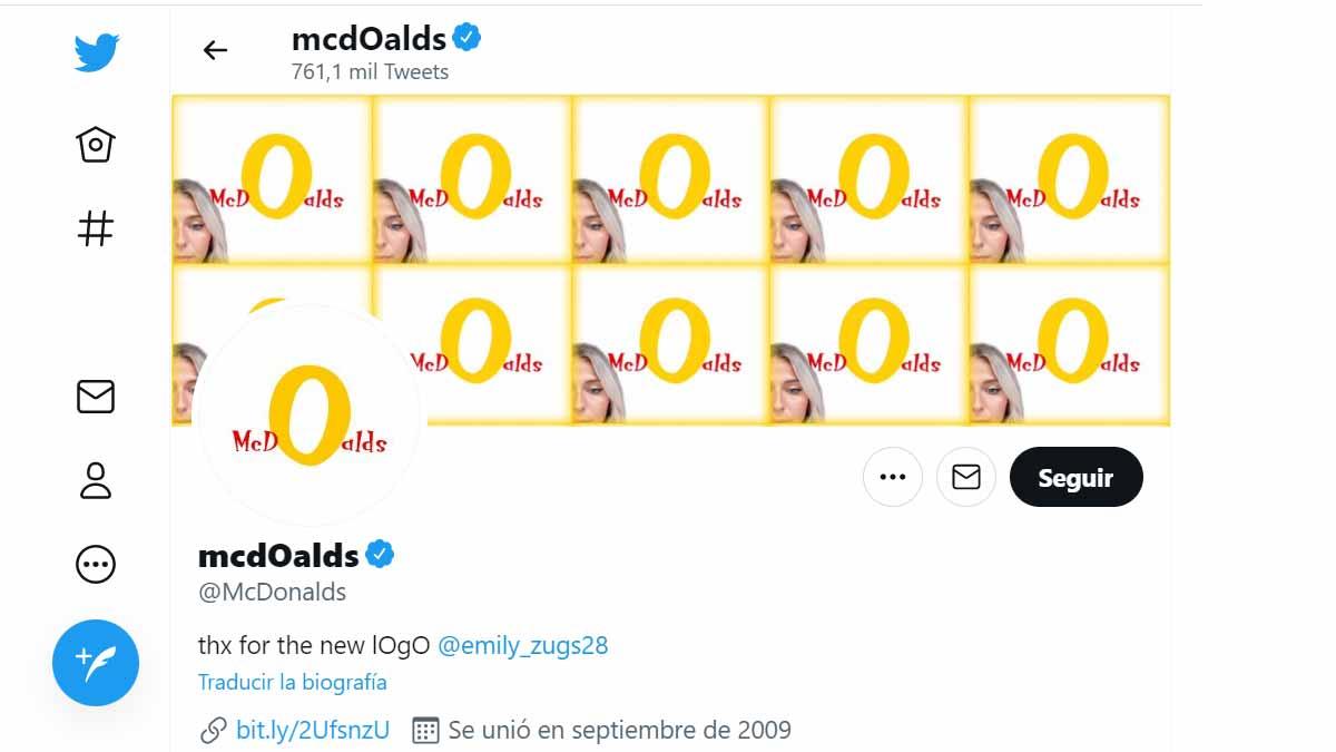 McDonald's utiliza el logotipo de Emily Zugay en su perfil de Twitter